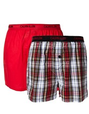 CK One 2 Pack Woven Boxers Slim Fit