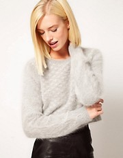 Kore by Sophia Kokosalaki Fluffy Angora Grid Panel Crop Jumper