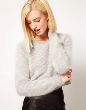Image 1 ofKore by Sophia Kokosalaki Fluffy Angora Grid Panel Crop Jumper