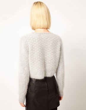 Image 2 ofKore by Sophia Kokosalaki Fluffy Angora Grid Panel Crop Jumper