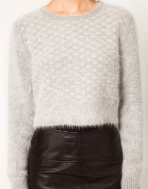Image 3 ofKore by Sophia Kokosalaki Fluffy Angora Grid Panel Crop Jumper
