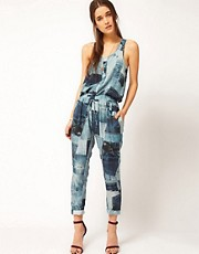 Emma Cook Sleeveless Jumpsuit In Denim Print