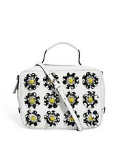 ASOS Leather Across Body Bag With Flower Embellishment