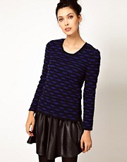 Edun Zebra Stripe Crochet Crewneck Sweater