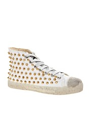 Gienchi Canvas Studded White High Top Trainers