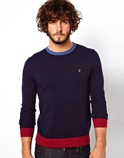 Farah Vintage Jumper with Contrast Collar and Hem