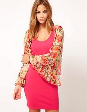 Rare Bodycon Dress With Floral Sleeves