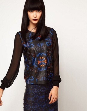 Image 1 ofASOS BLACK By Markus Lupfer Leather Top In Print