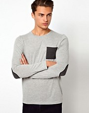 ASOS Long Sleeve T-Shirt With Contrast Pocket And Elbow Patches