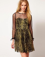 Ruby Rocks Animal Print Dress With Mesh
