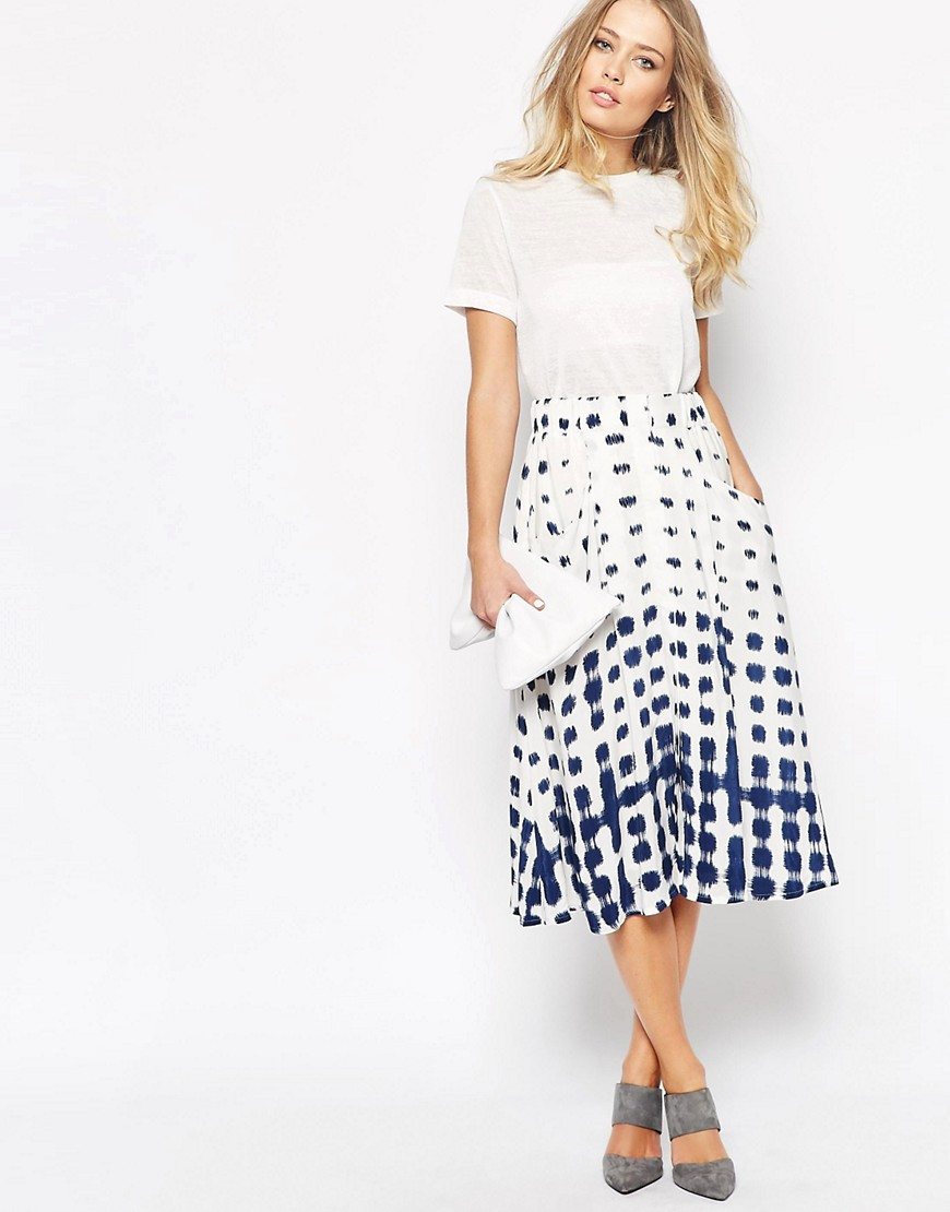 Image 1 of Whistles Button Through Skirt in Shibori Spot Print
