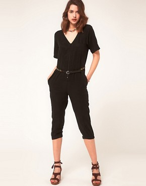 Image 1 ofASOS Cropped Boilersuit With Zip Front Detail