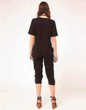 Image 2 ofASOS Cropped Boilersuit With Zip Front Detail