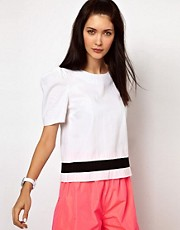 Lulu &amp; Co Puff Shoulder Woven Top with Contrast Stripe