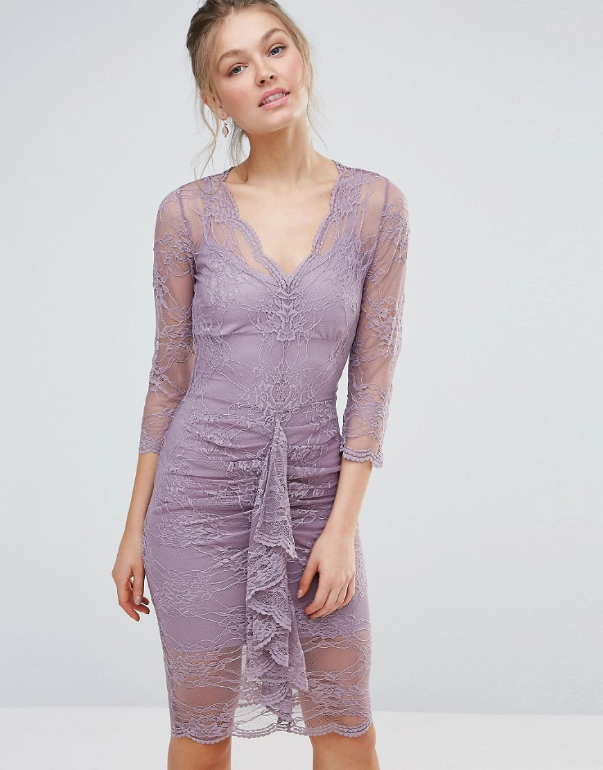 Bodyfrock Bodycon Midi Lace Dress with Scalloping and Ruched Front - Dusky lilac