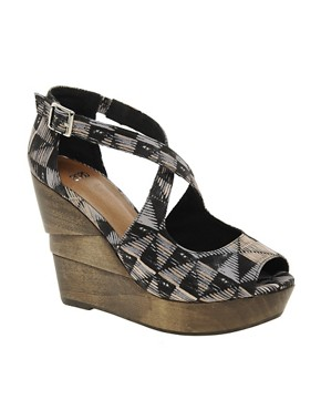 Image 1 ofASOS HETTY Wedges with Cross Straps