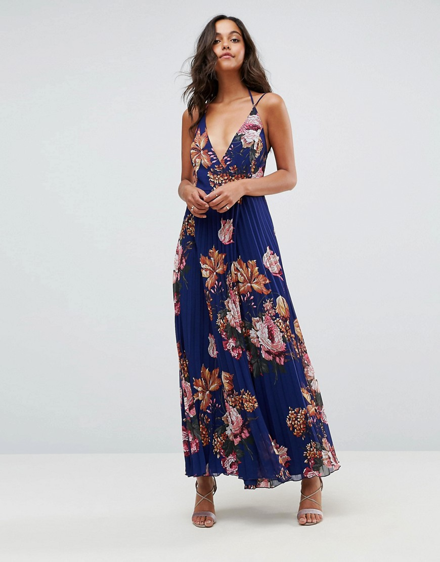 ASOS Floral Cami Pleated Maxi Dress - Multi