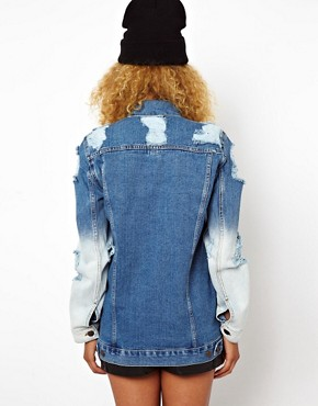 Image 2 ofASOS Oversized Denim Boyfriend Jacket With Rips And Bleach Detail