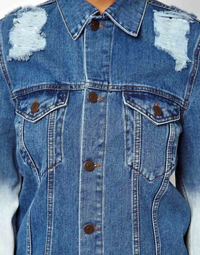 Image 3 ofASOS Oversized Denim Boyfriend Jacket With Rips And Bleach Detail