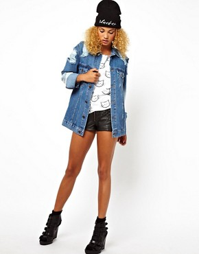 Image 4 ofASOS Oversized Denim Boyfriend Jacket With Rips And Bleach Detail