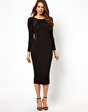 TFNC Midi Dress with Lace Insert