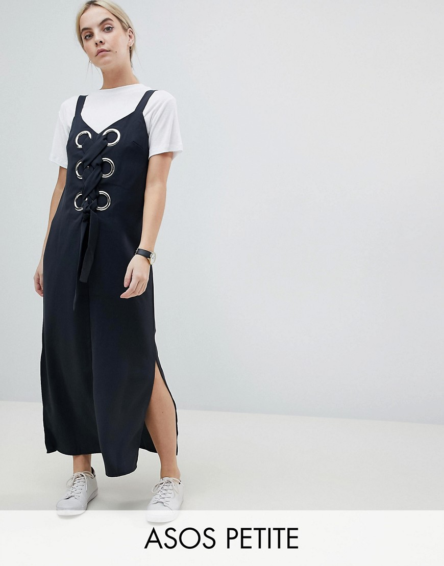 ASOS PETITE Eyelet Detail Maxi Dress - Dark grey