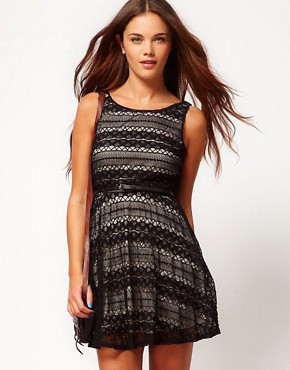 Image 1 ofRiver Island Contrast Lace Skater Dress With Belt