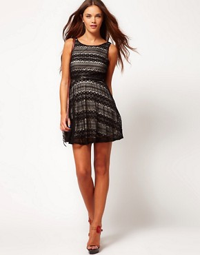 Image 4 ofRiver Island Contrast Lace Skater Dress With Belt