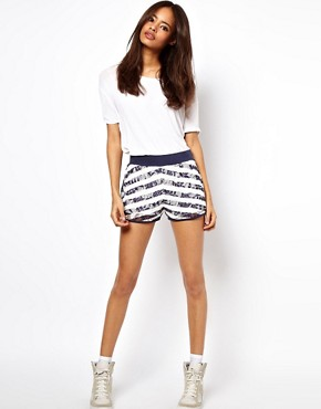 Image 1 ofASOS Lace Shorts with Stripe Print