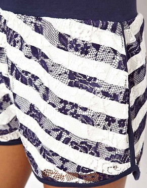 Image 3 ofASOS Lace Shorts with Stripe Print