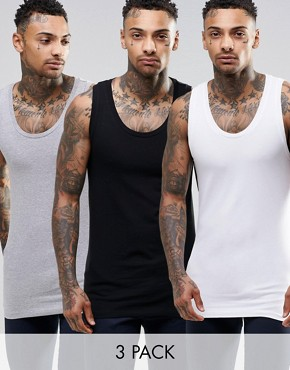 ASOS Muscle Vest 3 Pack SAVE 17%