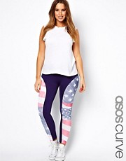 ASOS CURVE Legging In Distressed Americana