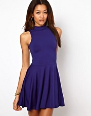 Motel Vanessa Skater Dress With High Neck