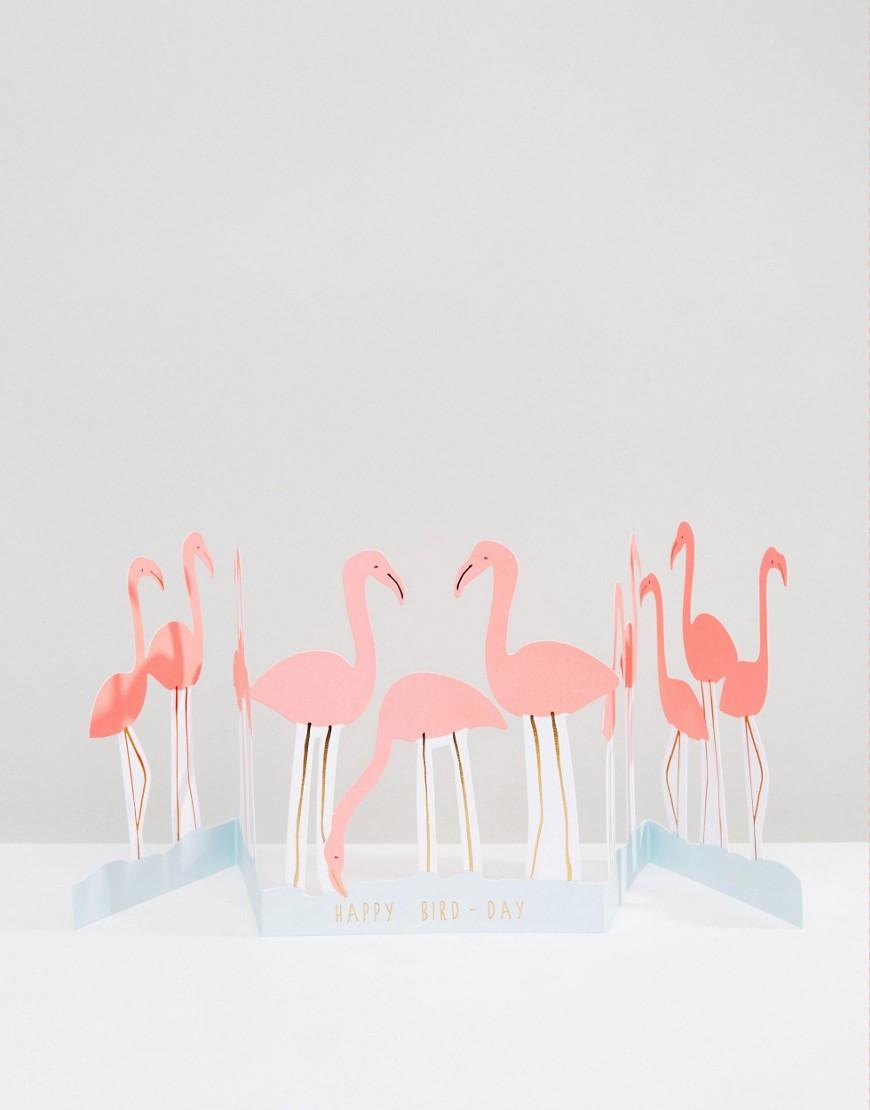 Поздравительная открытка на день рождения с фламинго Meri Meri