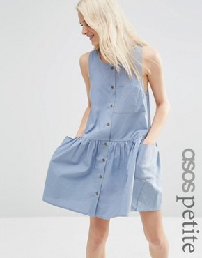 ASOS PETITE Sleeveless Button Through Smock Dress