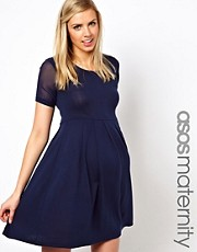ASOS Maternity Exclusive Knitted Dress with Chiffon Sleeves
