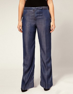 Image 4 ofASOS CURVE Tailored Wide Leg Jean With High Waist