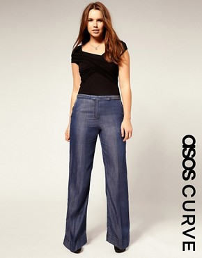 Image 1 ofASOS CURVE Tailored Wide Leg Jean With High Waist