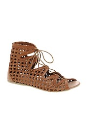 Park Lane Lace Up Leather Sandals