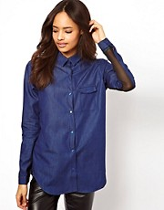 ASOS Denim Shirt with Chiffon Back