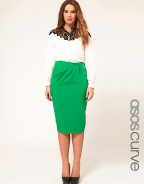 Image 1 ofASOS CURVE Exclusive Pencil Skirt With Pleat Waist