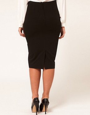 Image 2 ofASOS CURVE Exclusive Pencil Skirt With Pleat Waist