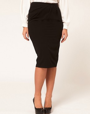 Image 4 ofASOS CURVE Exclusive Pencil Skirt With Pleat Waist