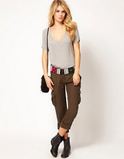 Miss Sixty Crop Combats With Beaded Belt