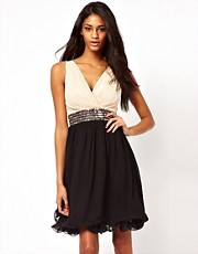 Little Mistress Wrap Front Embellished Waist Prom Dress