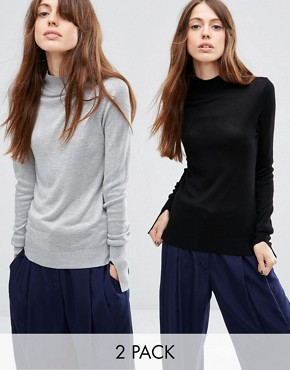ASOS Jumper With Turtle Neck in Soft Yarn 2 Pack SAVE 20%