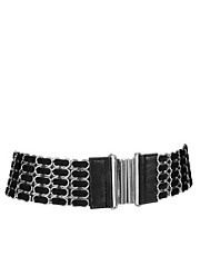 Mango Black Metal Stretch Belt