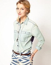 Denim & Supply By Ralph Lauren Soft Denim Shirt With Bandana Print