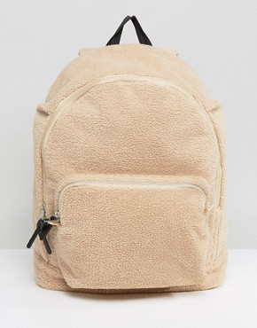 ASOS Backpack In Cream Borg