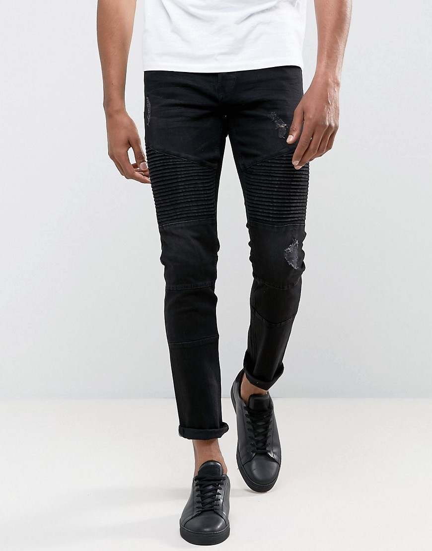 Only & Sons Jeans in Slim Fit With Distressed Biker Knees - Black
